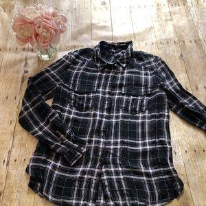 PAIGE Plaid Flannel Button Down Shirt- Large